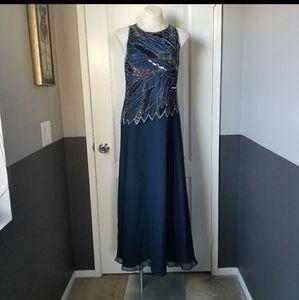 J Kara Navy Blue Beaded Formal Gown Dress